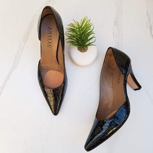 ANYI LU D'orsay Pumps Black Croc Print Patent Heel